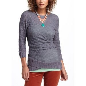 ANTHROPOLOGIE gray lace twist top